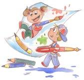 绘水彩的孩子 免版税库存照片
