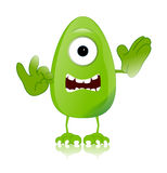 滑稽绿色妖怪的字符表达式 免版税库存图片