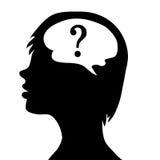 Силуэт головы и мозга Процесс людской думать Стоковая Фотография