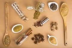 在棕色背景的布朗香料 免版税图库摄影