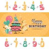 生日与大蛋糕传染媒介例证的贺卡 免版税库存照片