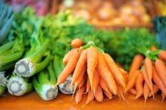 新鲜的茴香和红萝卜在农业市场上 库存图片