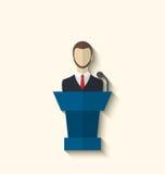 演说者平的象讲话从讲台,长的阴影样式 库存照片