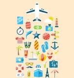Επίπεδα καθορισμένα εικονίδια σύγχρονου σχεδίου του ταξιδιού στο ταξίδι διακοπών Στοκ Φωτογραφίες