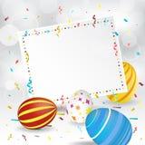 复活节贺卡、纸横幅、五彩纸屑和复活节彩蛋 免版税库存图片