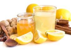蜂蜜、柠檬和姜 免版税库存照片