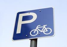 自行车停车处标志 免版税库存图片