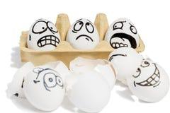 三个情感鸡蛋 免版税库存图片