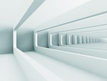 白色抽象未来派走廊建筑学背景 免版税库存图片
