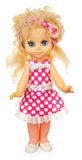 Старая пластичная кукла в розовом платье Стоковая Фотография