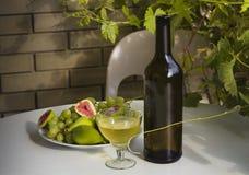 静物画-户外酒、葡萄和无花果 库存图片