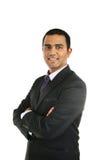 关闭一个微笑的印地安商人的画象 免版税库存图片