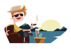 享用您假日假期例证漫画人物 免版税库存图片