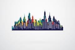 现代城市减速火箭的地平线剪影 库存图片