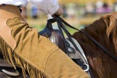 详细资料西部设备的骑马 免版税库存照片