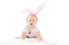 孩子打扮当复活节兔子 免版税库存图片