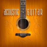 Предпосылка акустической гитары Стоковое Изображение RF