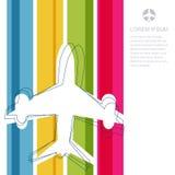 Υπόβαθρο λωρίδων σκιαγραφιών και ουράνιων τόξων αεροπλάνων πτήσης με το π Στοκ εικόνες με δικαίωμα ελεύθερης χρήσης