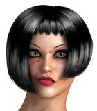 有一张结疤的面孔的女孩 免版税库存照片