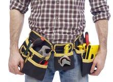木匠佩带的工具传送带 免版税库存图片