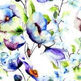 Άνευ ραφής ταπετσαρία με τα όμορφα μπλε λουλούδια Στοκ Εικόνα