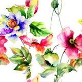 Άνευ ραφής ταπετσαρία με τα λουλούδια άνοιξη Στοκ Φωτογραφίες