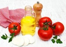 橄榄油、无盐干酪乳酪、大蒜和蕃茄 免版税库存图片