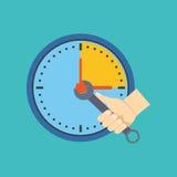 Принципиальная схема контроля времени Плоский дизайн Стоковое Фото