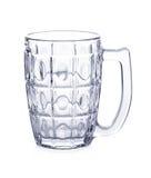 在白色背景隔绝的空的啤酒杯玻璃 免版税库存照片