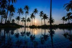 与日出的游泳池 免版税库存图片