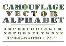 伪装卡莫样式样式传染媒介在字母表字体上写字 库存图片