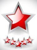 Στιλπνά κόκκινα αστέρια με το γκρίζο πλαίσιο Στοκ εικόνα με δικαίωμα ελεύθερης χρήσης