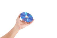 拿着圆盘的手 库存图片