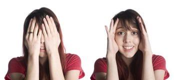 妇女用在面孔的手惊奇概念的 库存图片