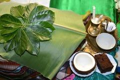 在一个传统印度尼西亚婚礼的设备 免版税图库摄影
