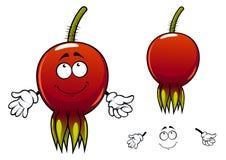 微笑的成熟野蔷薇果子漫画人物 免版税库存图片
