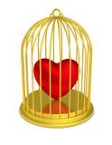 与被困住的心脏的金黄鸟笼 免版税库存照片