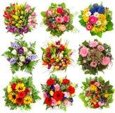 九朵五颜六色的花花束复活节假日 花卉对象 免版税库存照片