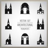 Комплект памятников старой Европы вектора архитектурноакустических Стоковое фото RF