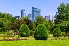 波士顿共同的公园庭院和地平线 免版税库存图片