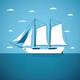 Διανυσματική έννοια του ωκεανού ποταμών και της πλέοντας βάρκας θάλασσας Στοκ Εικόνες