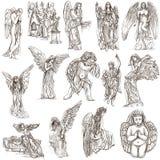 Ангелы - рука нарисованные полноразрядные иллюстрации, оригиналы Стоковые Фотографии RF