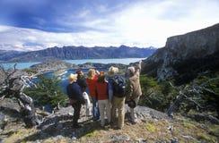 人们观察安第斯秃鹰在埃尔卡拉法特,巴塔哥尼亚,阿根廷 库存图片