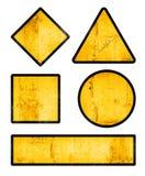 套与难看的东西纹理的空白的黄色路标 免版税库存照片