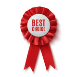 最佳的选择,现实红色织品奖丝带 免版税库存照片