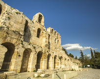 Αρχαίο θέατρο κάτω από την ακρόπολη στην Αθήνα, Ελλάδα Ταξίδι Στοκ Εικόνες