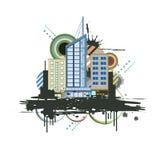 Городской дизайн сцены и выплеск чернил Стоковые Фото