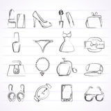 女性时尚对象和辅助部件象 库存图片