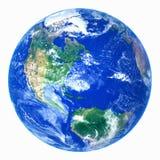 Реалистическая земля планеты на белой предпосылке Стоковая Фотография