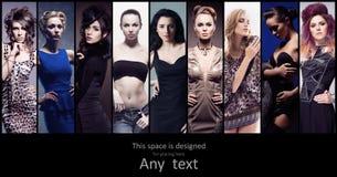 Собрание моды различных женщин в платьях Стоковая Фотография